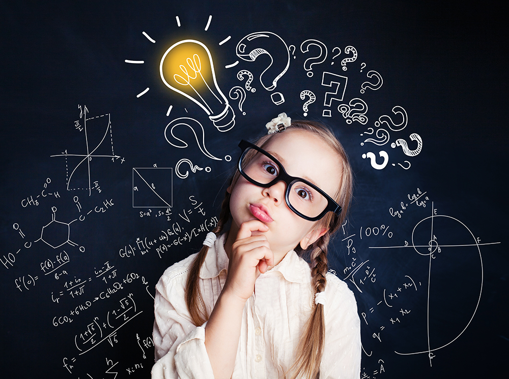 Image of little girl wearing glasses with light bulb over her head along with question marks and equations
