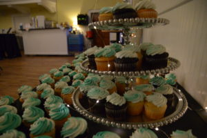 Image of blue and white cupcakes