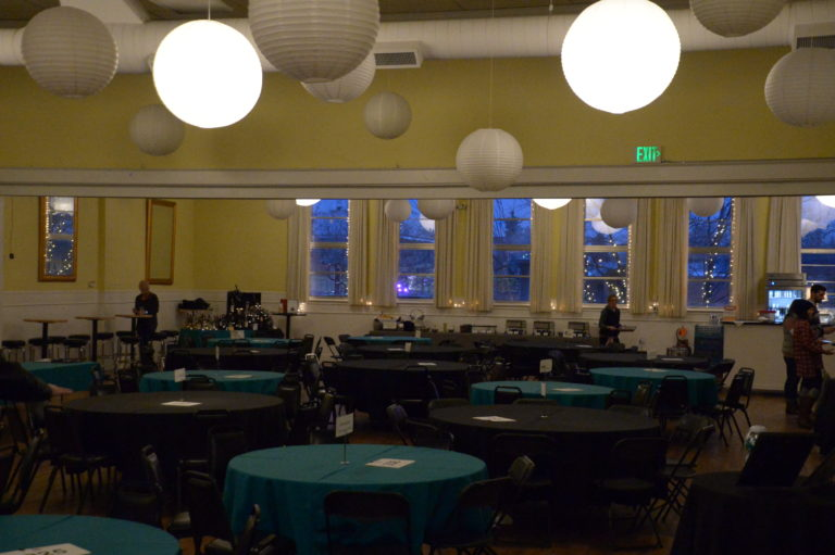 Image of venue. Blue and black with white lanterns