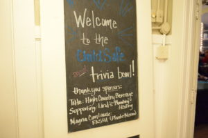 Image of chalkboard with text saying welcome to the childsafe annual trivia bowl
