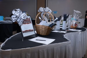 Image of table with raffle prizes